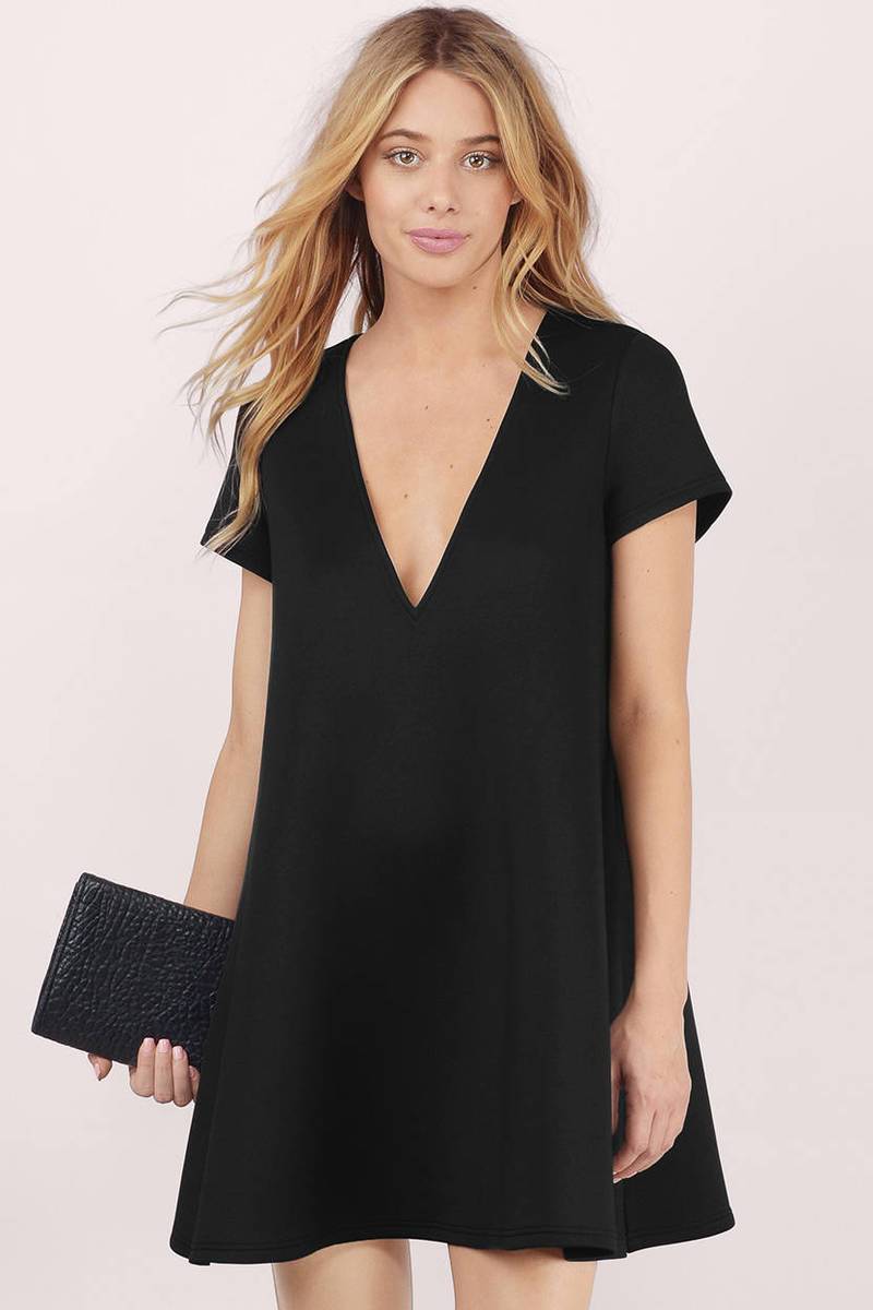 Swing Along Black Shift Dress