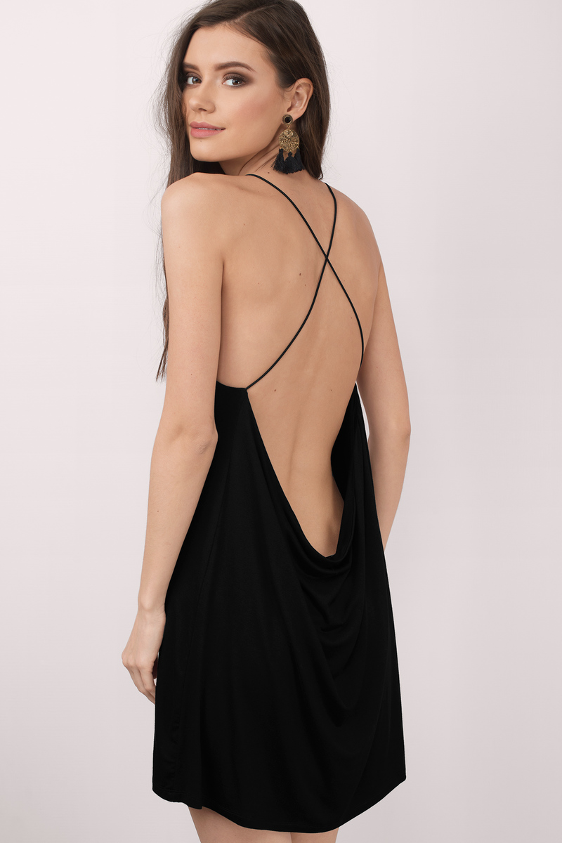 Swing Low Black Shift Dress