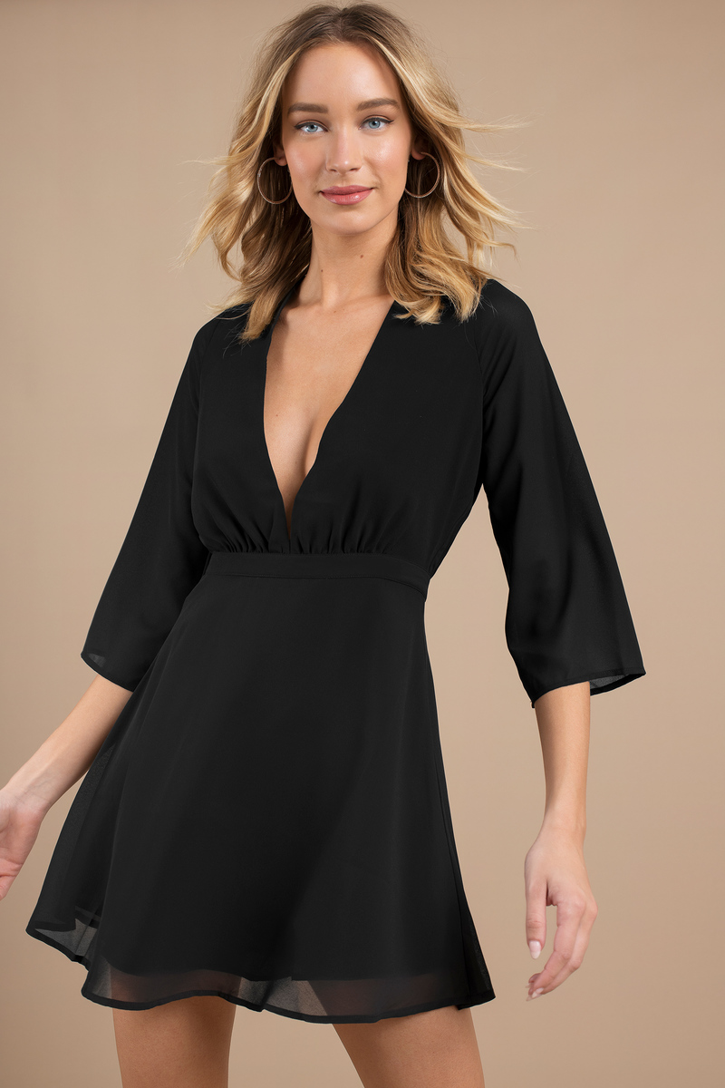 Cute Skater Dress - Deep V Dress - Black Dress - $60.00