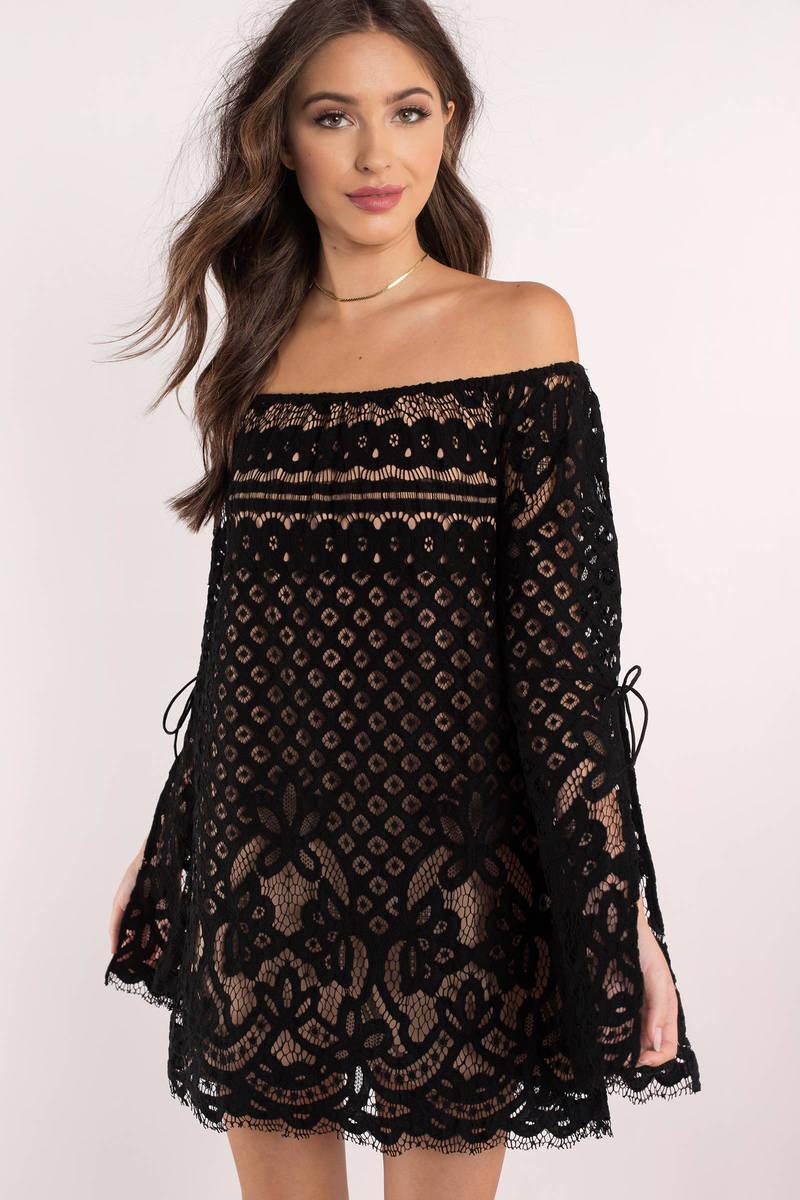 eea4c9d2f19f Chic Black Shift Dress - Off Shoulder Lace Dress - Black Formal ...
