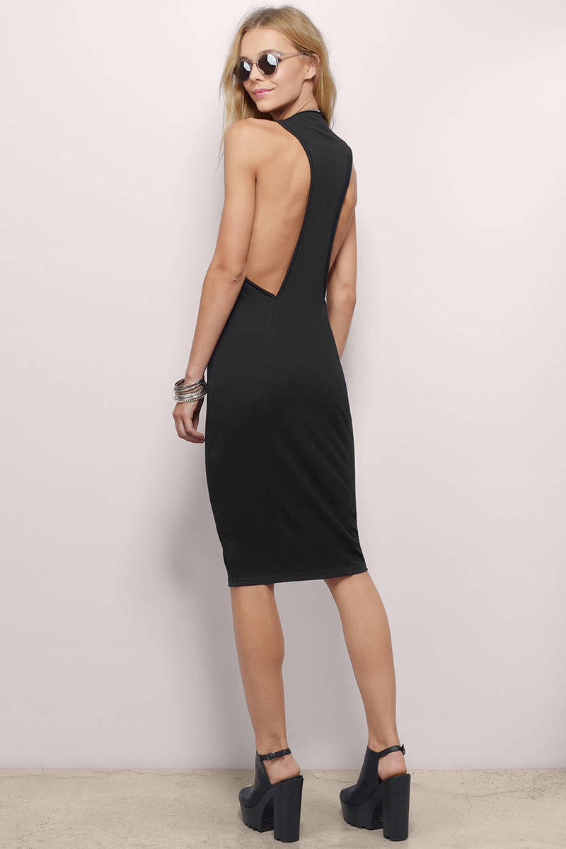 Taking Sides Black Cotton Midi Dress