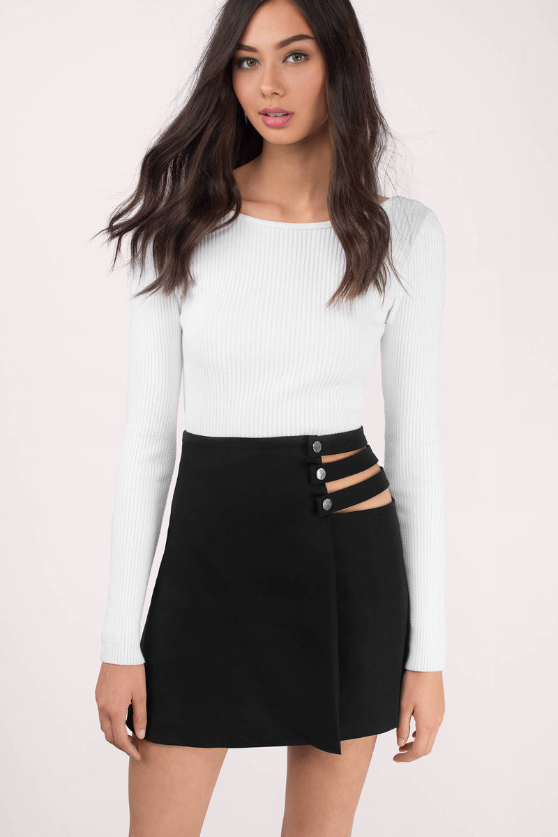 Taking Sides Black Mini Skirt