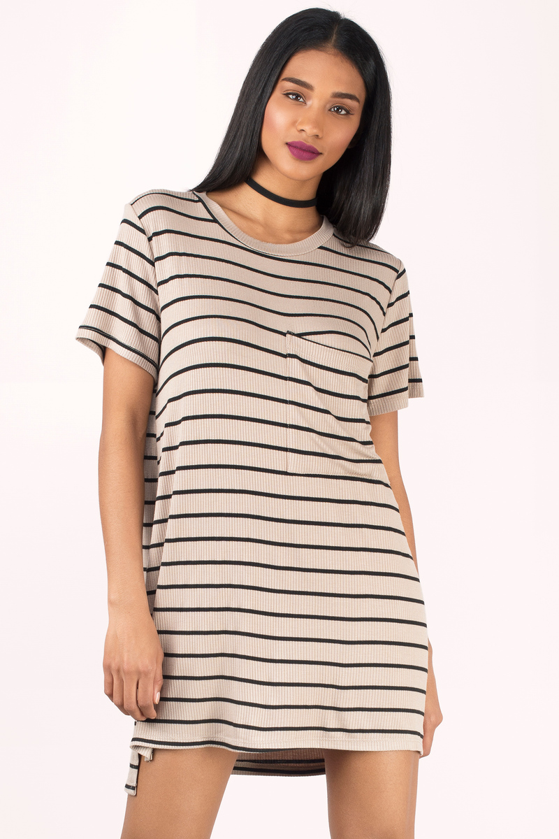 Morgan Black & Taupe Striped Shift Dress