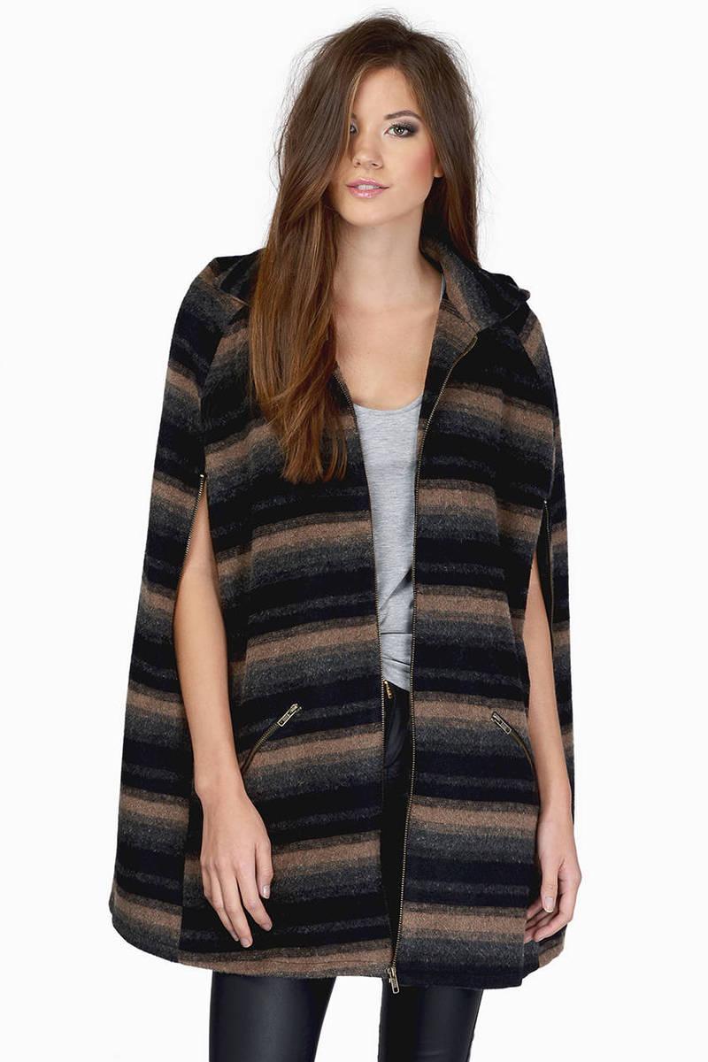 Runway Rebel Navy & Grey Striped Wool Coat