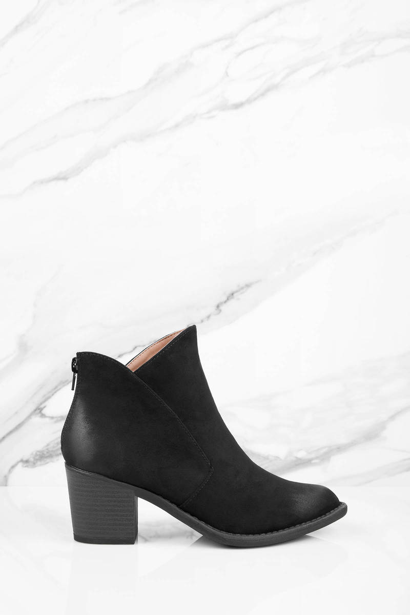 Teresa Black Suede Ankle Boots