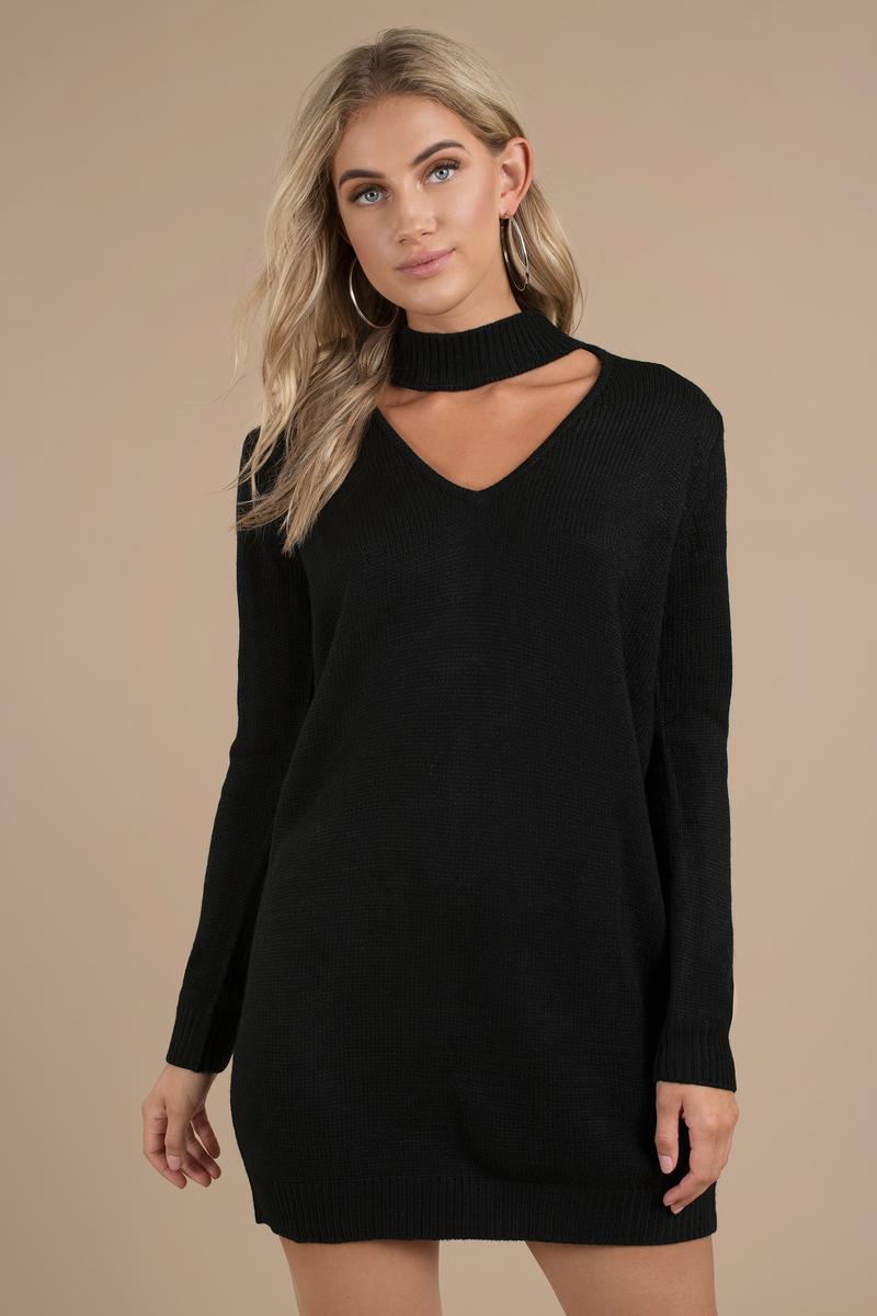 3237f8db322 Black Casual Dress - Choker Dress - Black Sweater Dress -  20