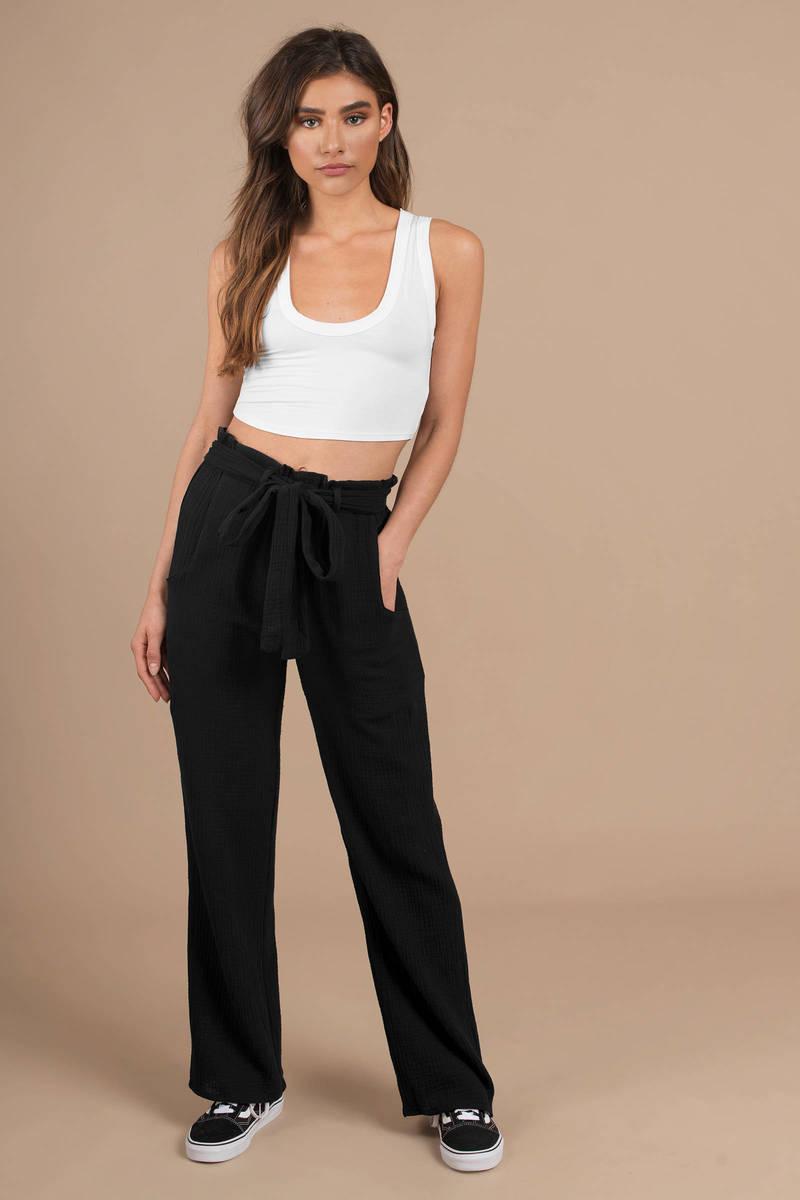 43efb72881 Black Stillwater Pants - Front Tie Pants - Black Wide Leg Pants ...