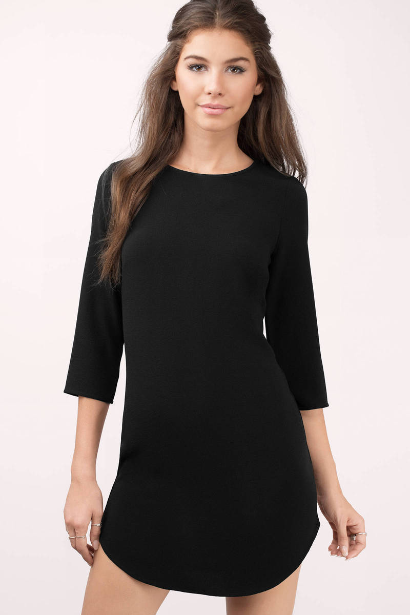 Think Of You Black Shift Dress