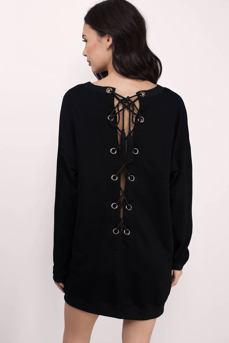 Thinking About It Black Long Sleeve Deep V Dress