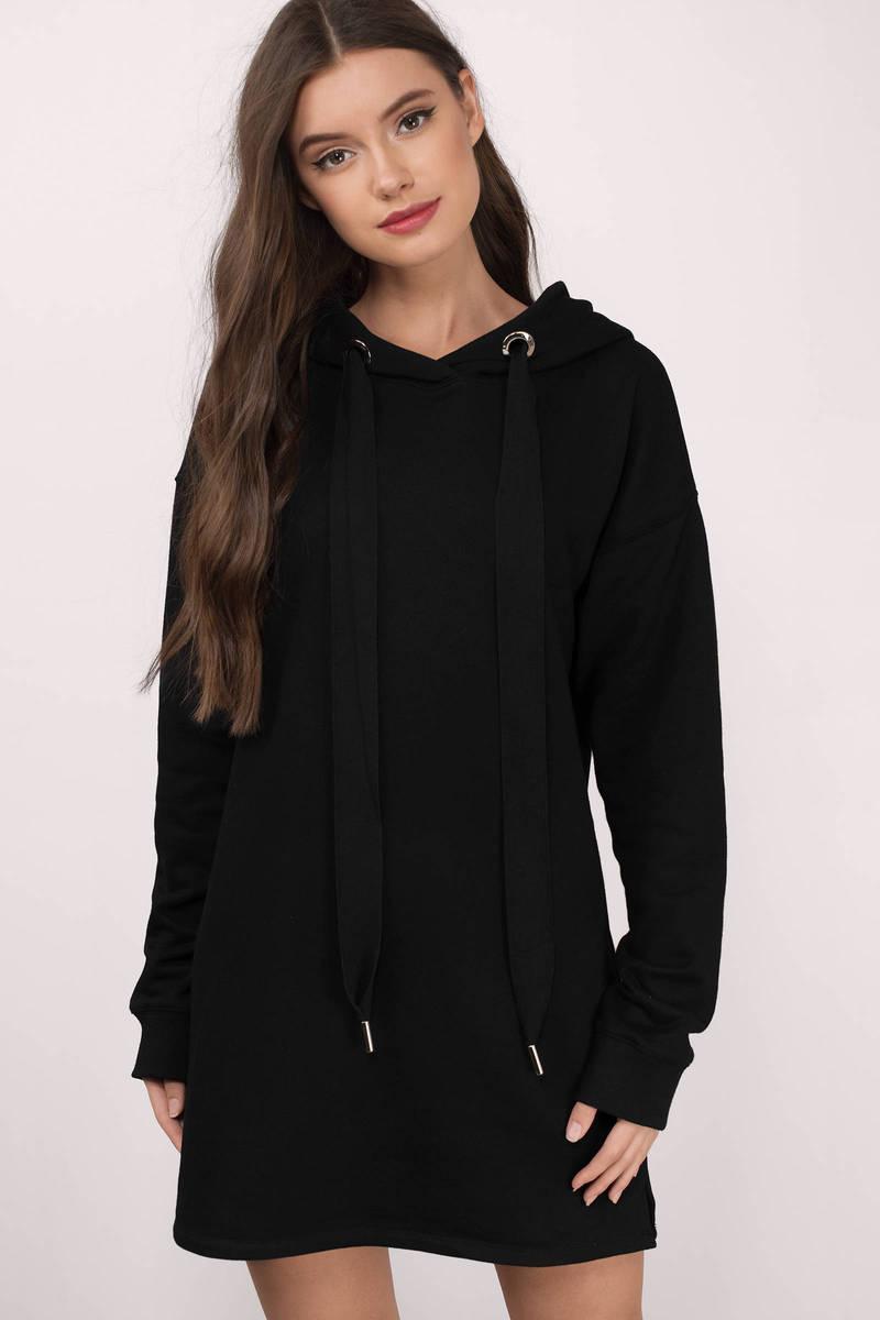 d80bae4de366 Black Sweatshirt - Long Hoodie - Hoodie Dress - Black Oversized ...