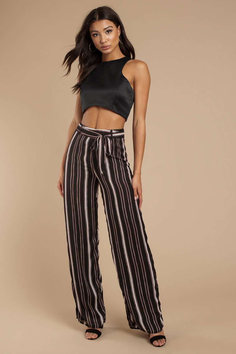 2523b326cba3 Black Pants - Front Tie Pants - Black Striped Wide Leg Pants - $25 ...