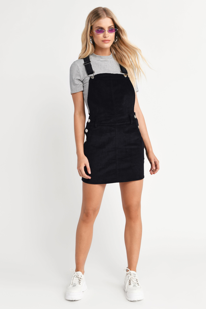bca55cf39a7 Black Overall Dress - Cord Pinafore Dress - Black Corduroy Dress ...