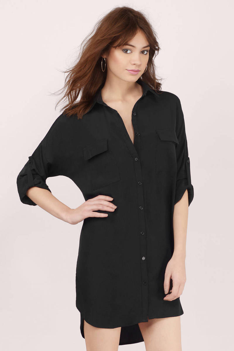 Tie Me Down Black Shirt Dress
