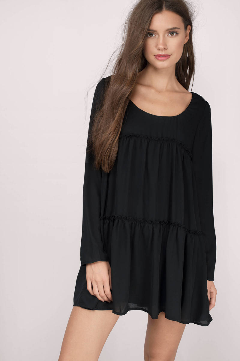 Tier She Goes Again Black Shift Dress