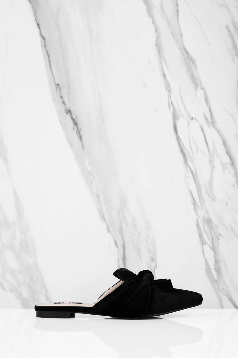Tiffanie Black Velvet Slip On Mules