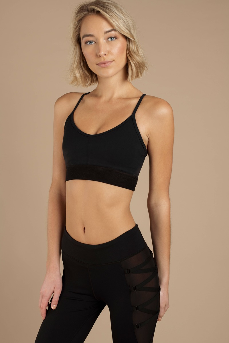 7cbf0a3924 Black Sports Bra - Athleisure Bra - Black Strappy Sports Bra -  20 ...