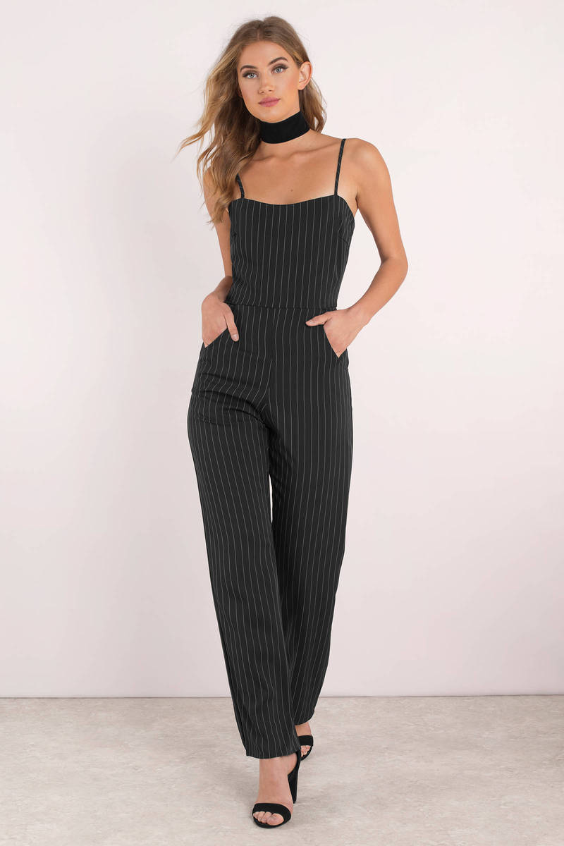 dd481558eef Black Jumpsuit - Stripe Jumpsuit - Black Professional Jumpsuit -  49 ...