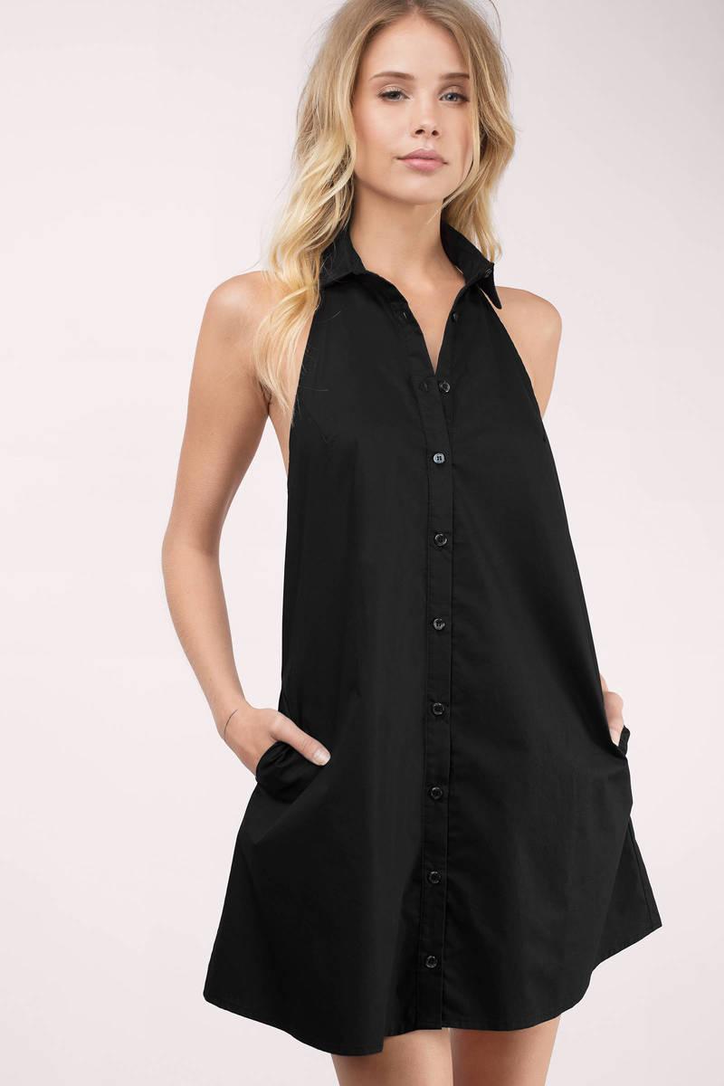 Top Collar Black Day Dress