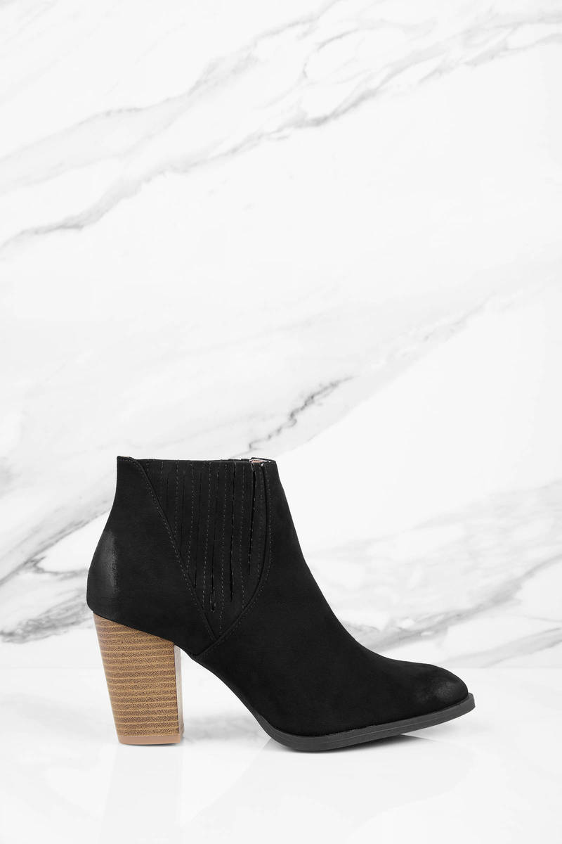 Tori Black Suede Ankle Boots - $72.00 | Tobi