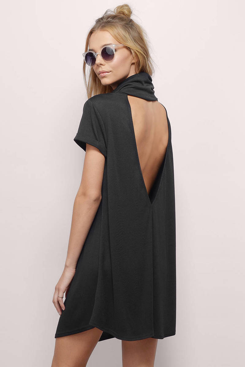 Tori Black Turtleneck Cut Out Shift Dress
