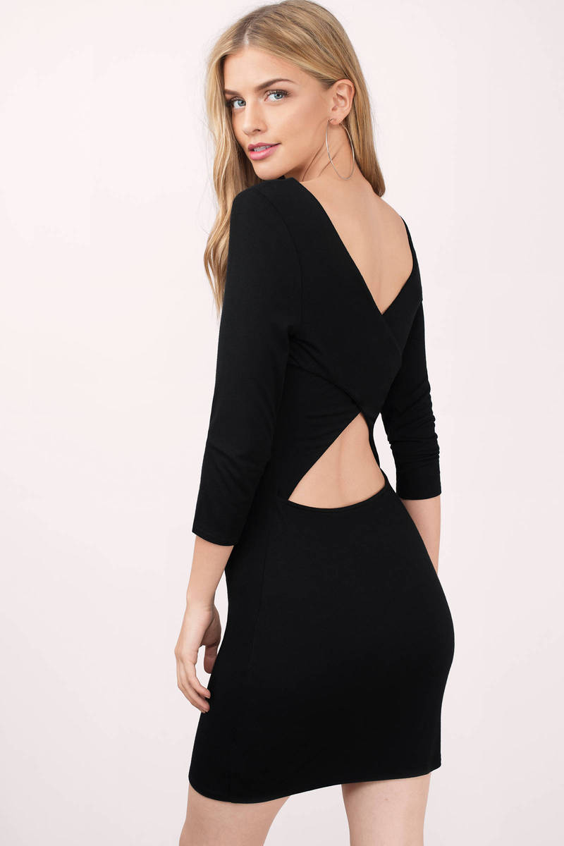 Black Bodycon Dress - Cross Back Dress - Modest Little Black Dress ...