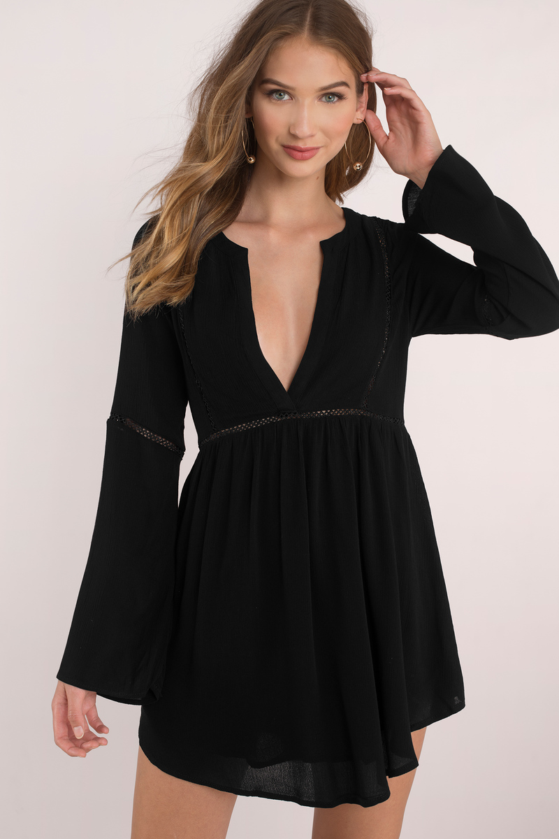 Trina Black Plunging Shift Dress