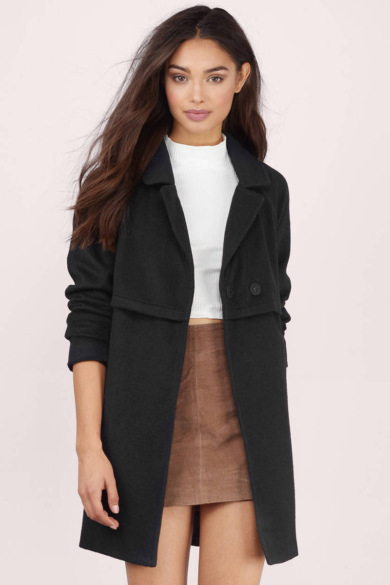 Trina Black Wool Trench Coat
