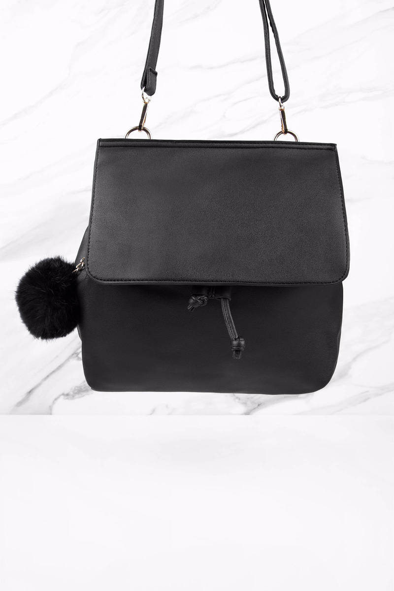 Trinity Black Faux Leather Backpack