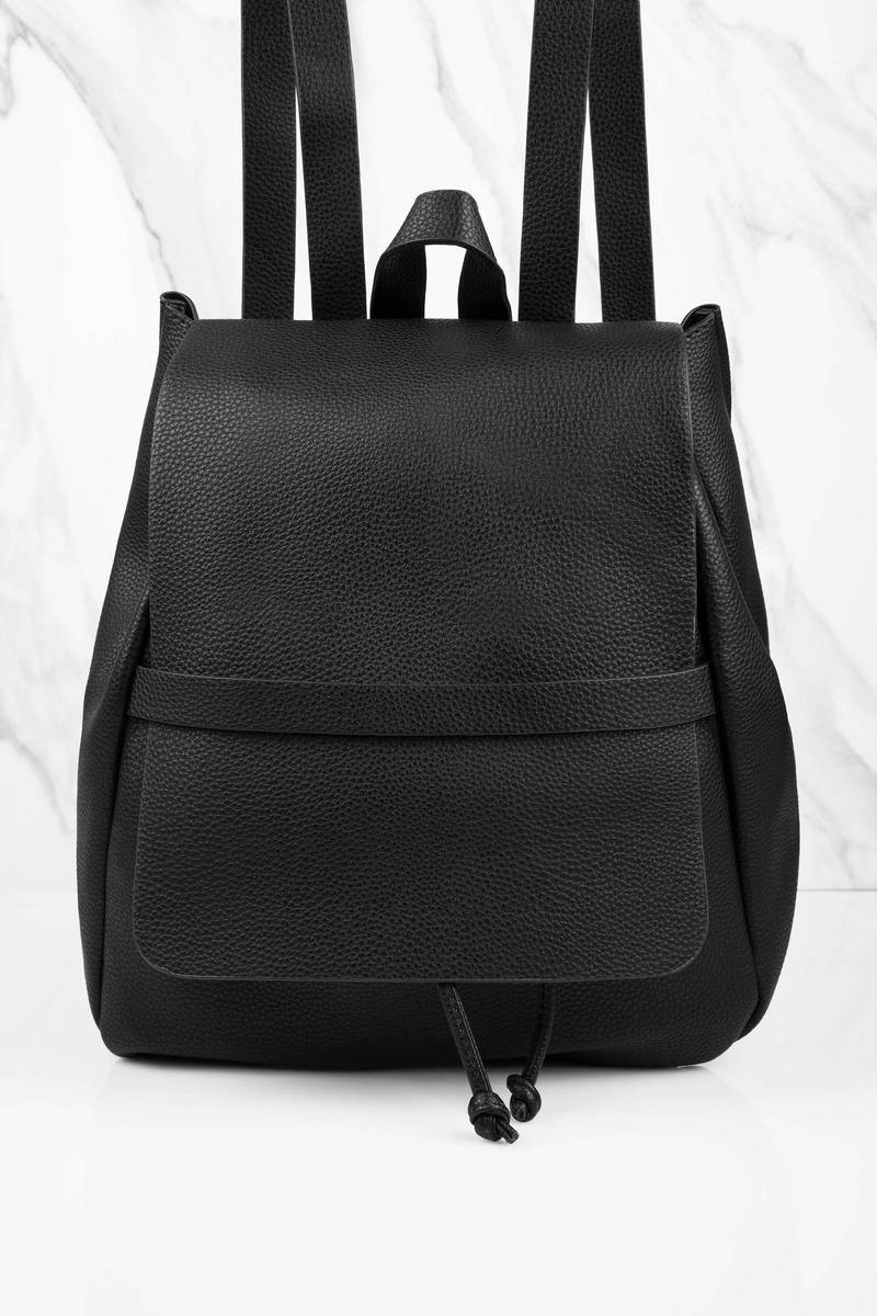 Trust Nobody Black Faux Leather Bucket Backpack