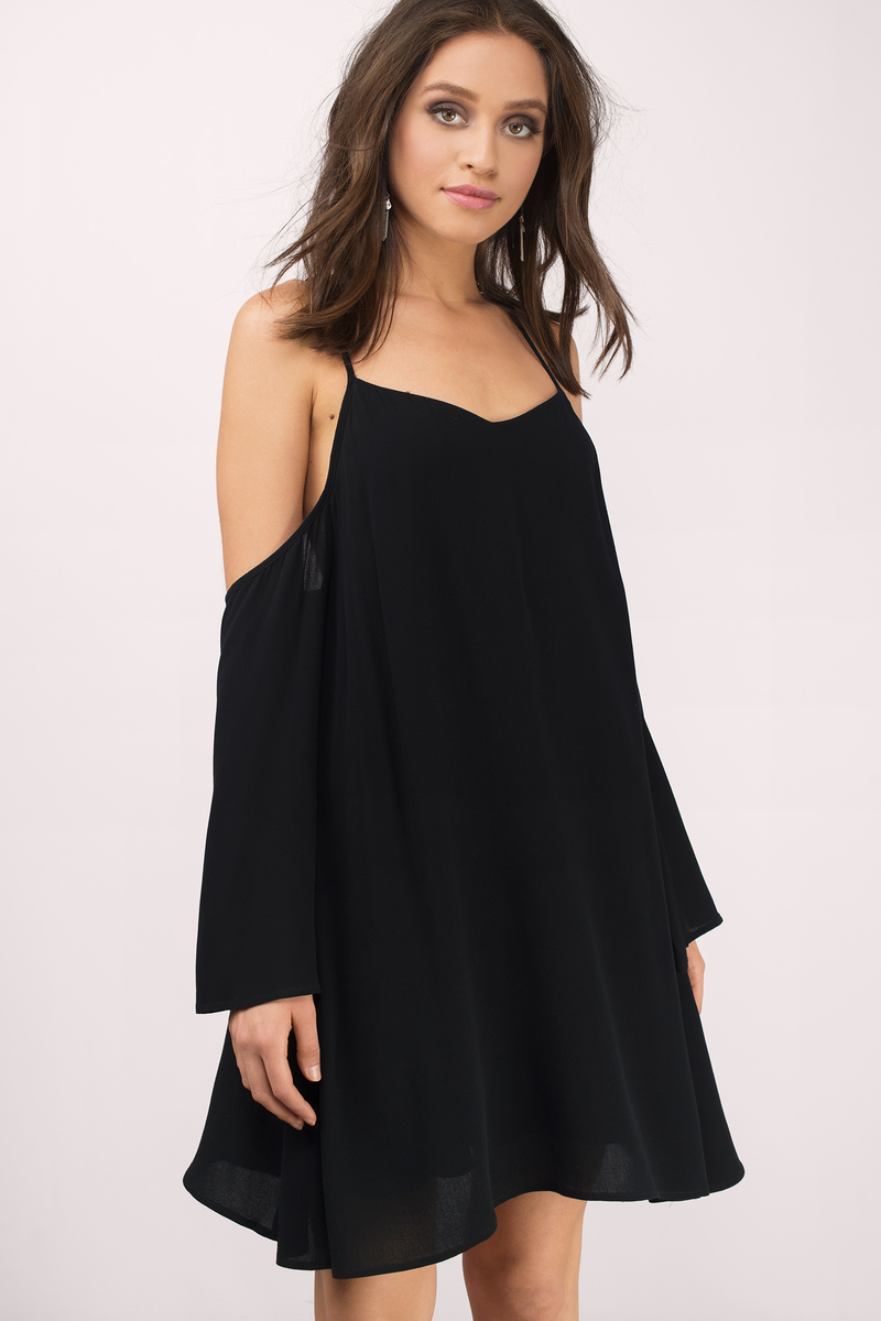 Tuscan Nights Black Cold Shoulder Shift Dress