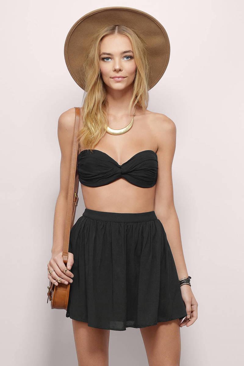 Twist Around Black Skater Dress
