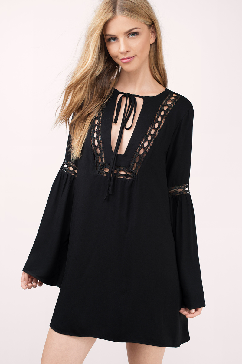 Cute Black Day Dress - Front Tie Dress - Black Dress - Day Dress ... 507667bf74d