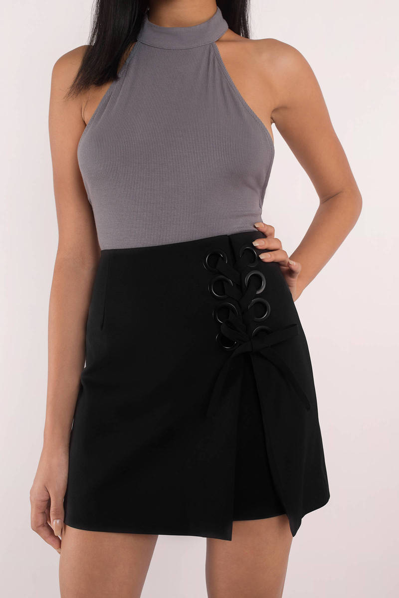 Finders Keepers Finders Keepers Unbelievers Black Lace Up Skirt