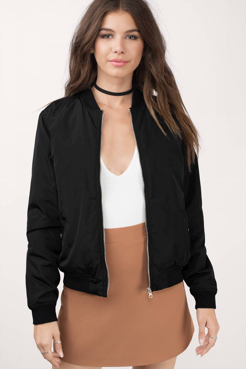 Up In The Skies Black Bomber Jacket