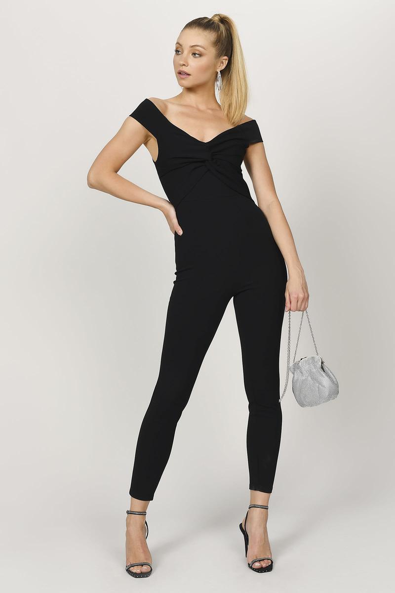 Black Jumpsuit Skinny Leg Jumpsuit Black Off Shoulder Jumpsuit