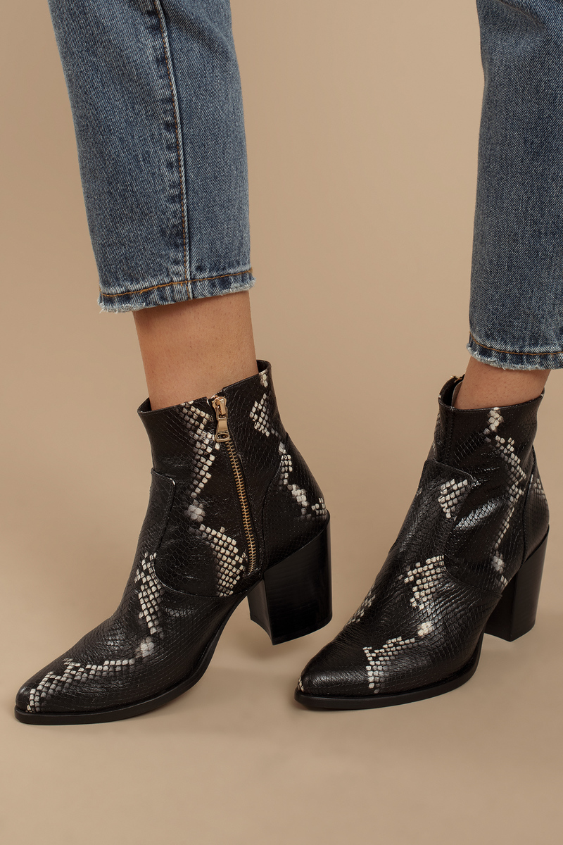 4d24bd3a2eb Black Steve Madden Boots - Snakeskin Booties - Black Chunky Heel ...