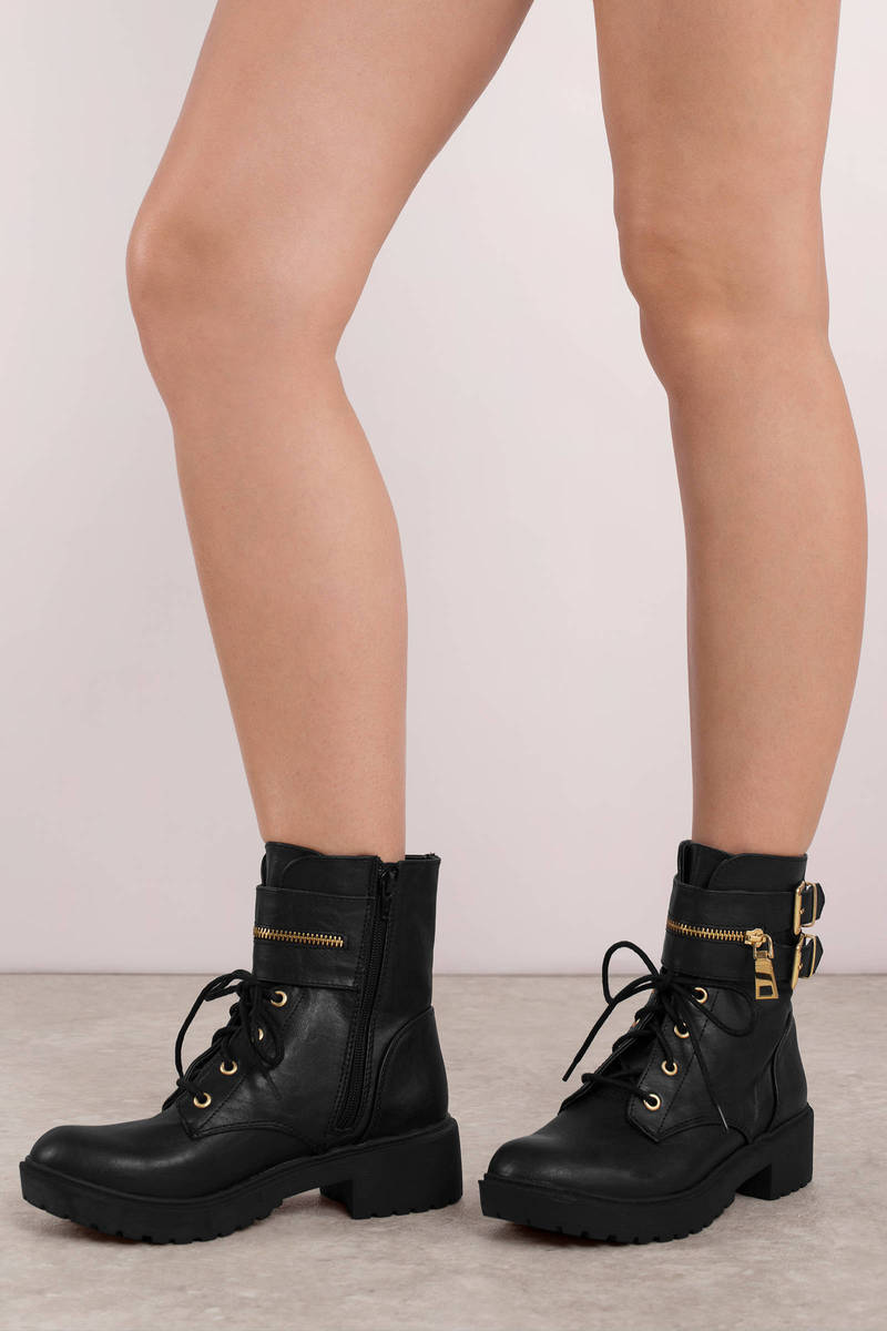 94aea6c8315f9 Chic Black Boots - Buckled Cuff Boots - Black Ankle Wrap Boots - $19 ...