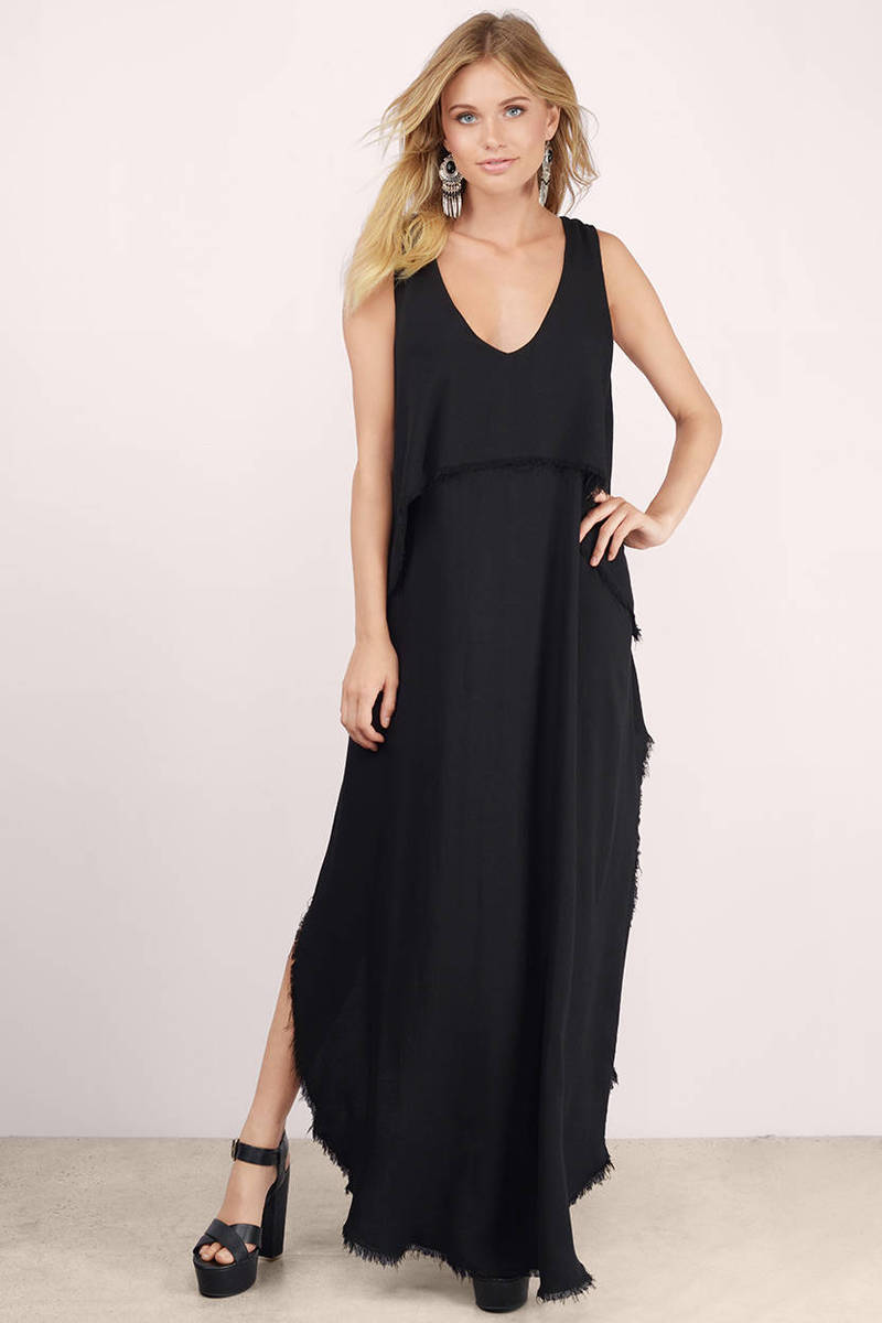 Vee Drop Black Maxi Dress