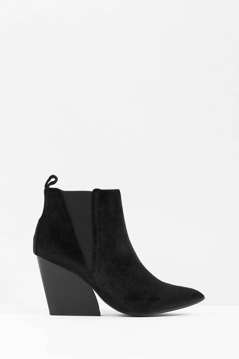 Black Velvet Boots - Black Boots - Pointed Toe Boots | Tobi