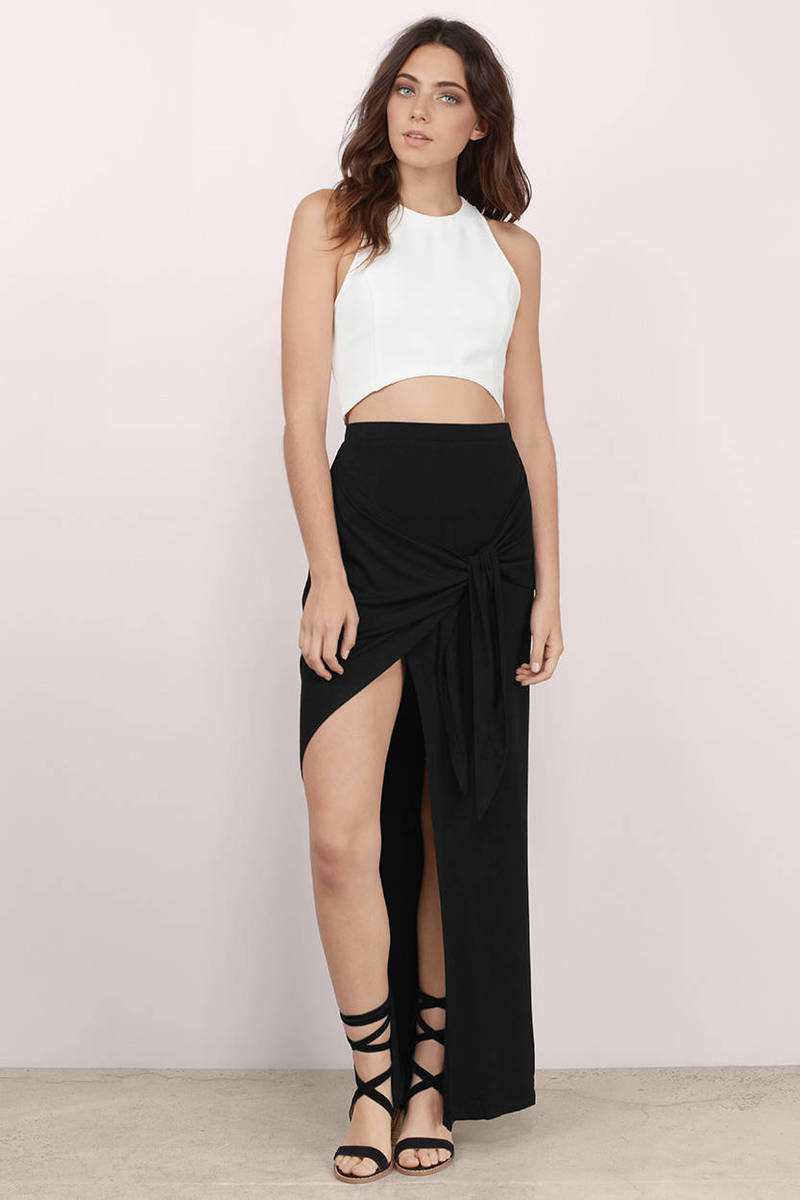 Trendy Black Skirt - High Slit Skirt - Maxi Skirt - Black Skirt ...