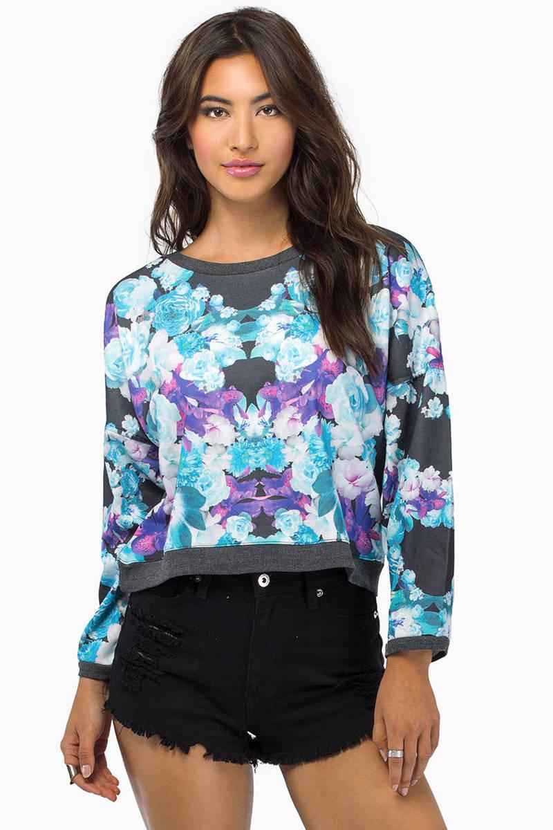 Visual Vixen Black Floral Print Sweater