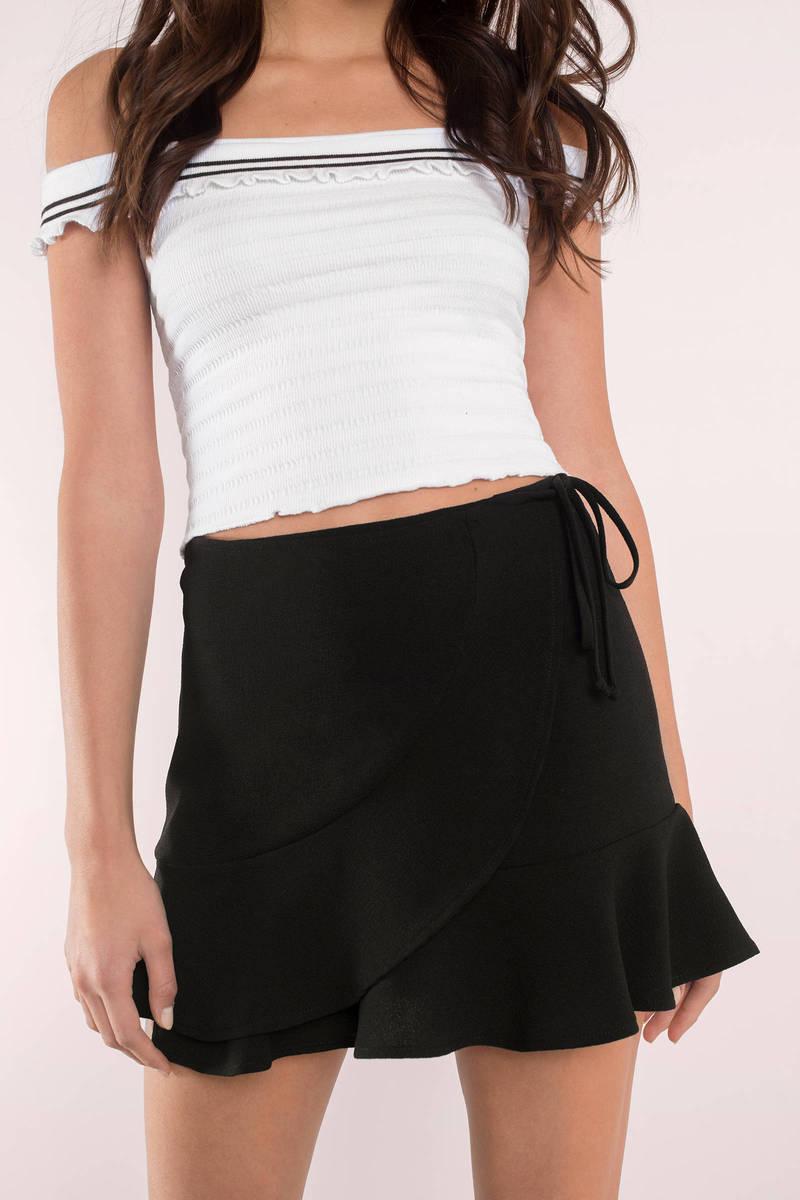 Vivian Black Ruffle Wrap Skirt