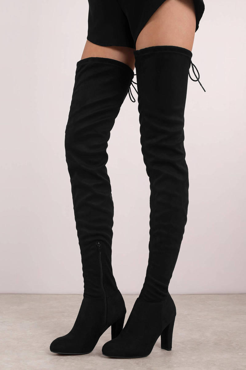 0f8b59a8cd60 Black Boots - Skinny Thigh High Boots - Tall Black Dressy Boots ...
