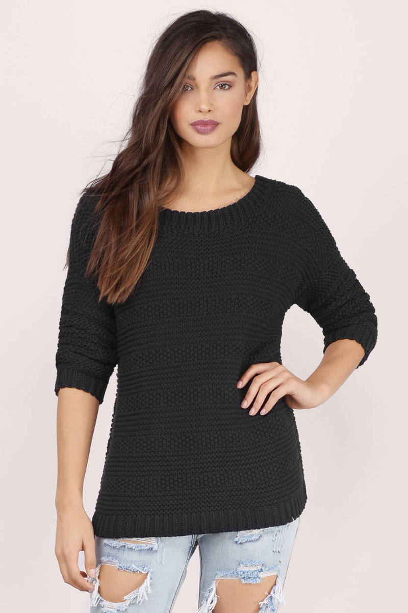 Cheap Black Sweater - Black Sweater - Knitted Sweater - A Line ...