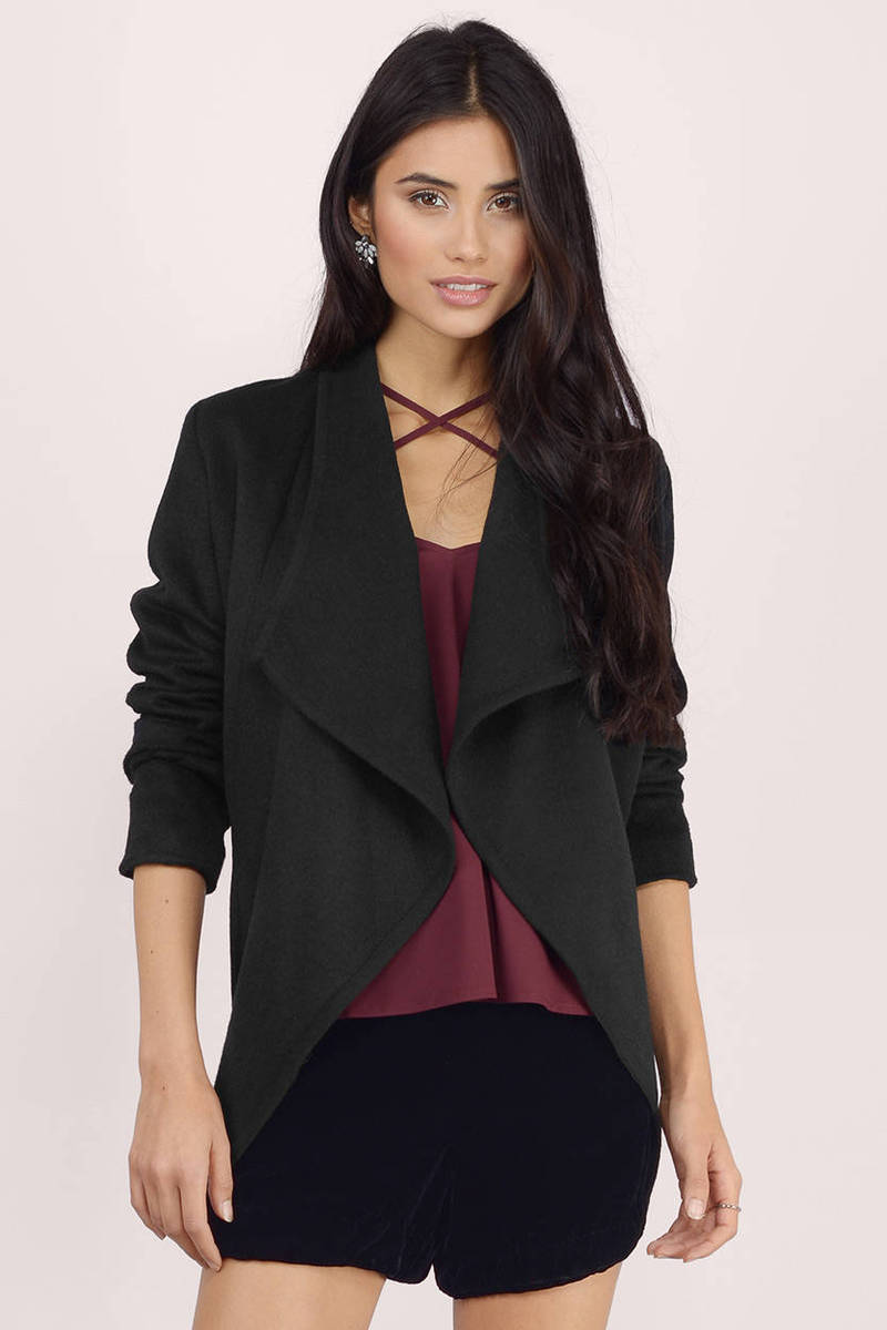 Waterfalling Black Wool Jacket