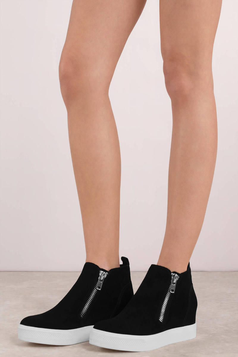 4883dd8949 Black Steve Madden Sneakers - Zip Up Sneakers - Black Suede Slip Ons ...