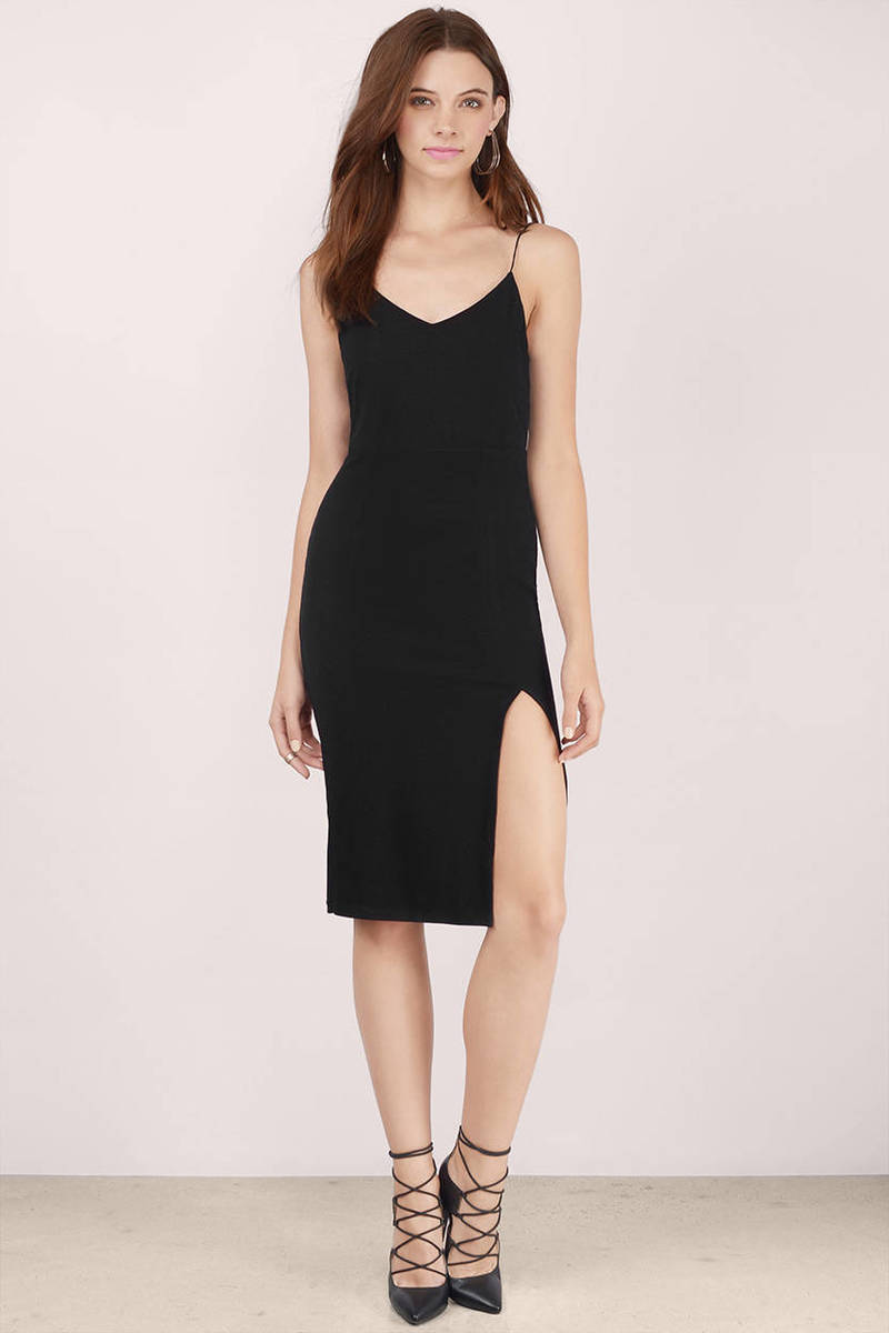 cce7e59febb93 Cheap Black Midi Dress - Black Dress - Ribbed Dress - Midi Dress ...
