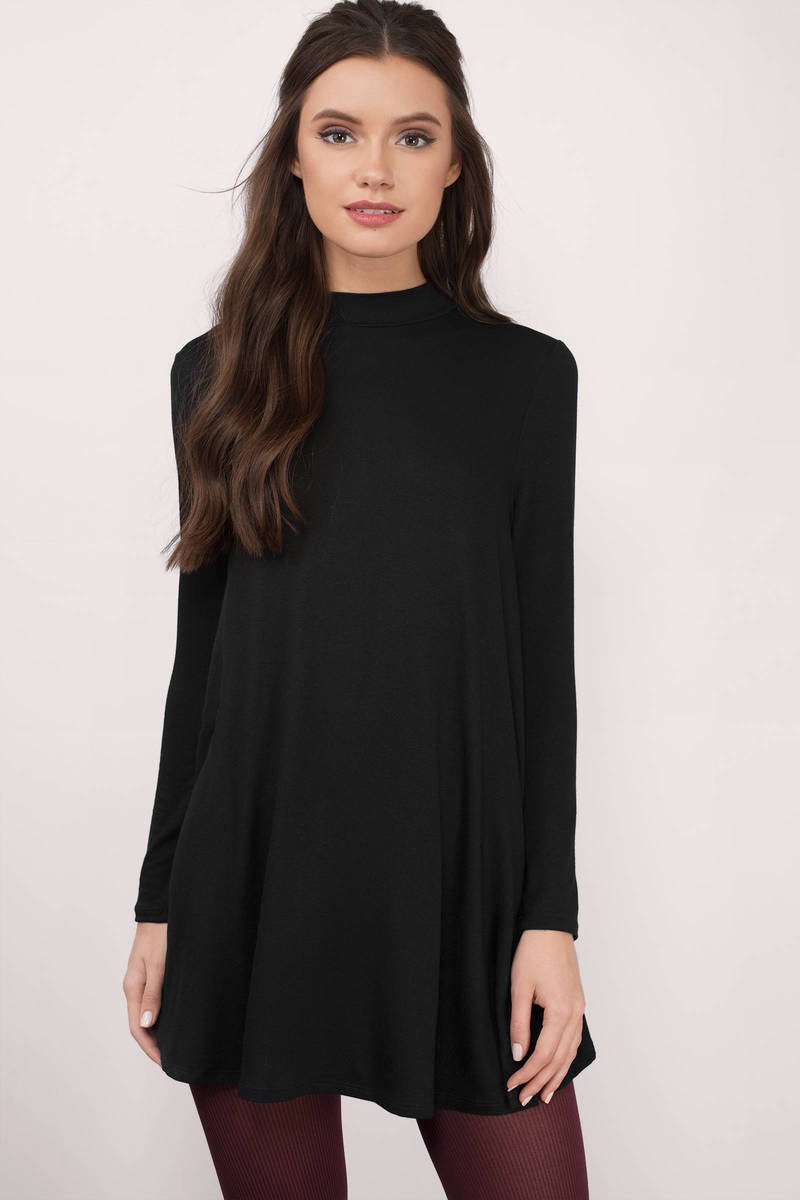 Where You Are Black Jersey Knitted Shift Dress