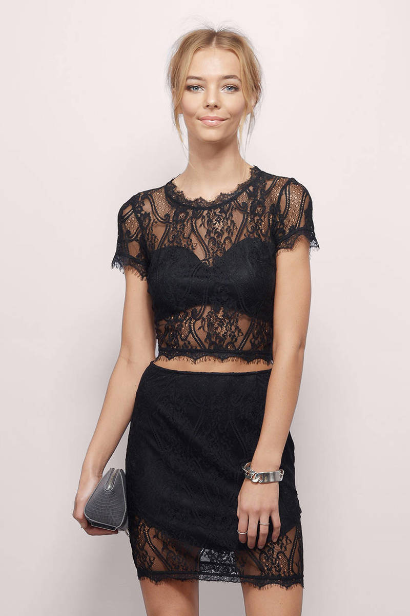 Whirlwind Romance Black Eyelet Lace Crop Top