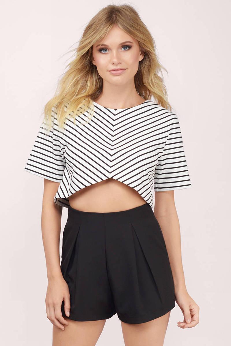 ISLA Isla Allure Black & White Striped Crop Top